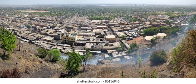Aerial view of the city of Bamako in Mali during the day, Mali.