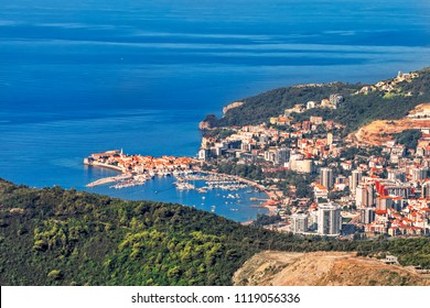 Aerial view of the city Bar, Montenegro