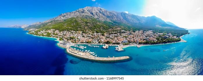 Aerial view of the city of Baska Voda in the summer, Croatia