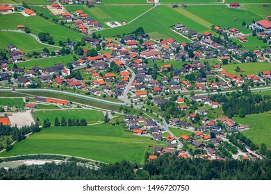 aerial view to city Krün in Bavaria, Germany