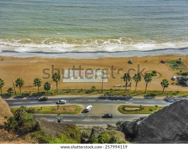 Aerial view of the city of the beach in miraflores district in the city of Lima at daytime.