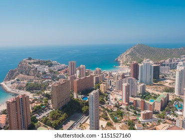Aerial view of the city of Benidorm, Alicante on the Costa Blanca of Spain. Poniente beach and Finestrat cove