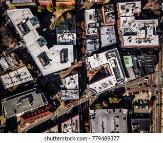 Aerial view of a city block