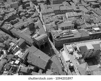 Aerial view of the city of Bologna, Italy in black and white