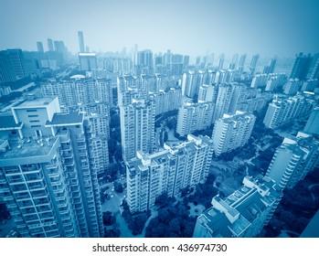 Aerial view of city buildings and river, China Nanchang
