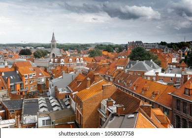 Aerial view of city buildings in Tournai, Belgium
