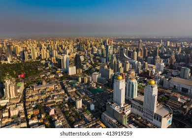 Aerial view city business area before sunset, Bangkok Thailand