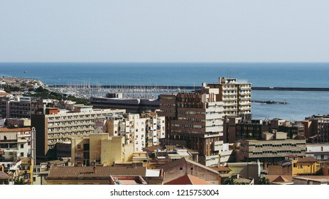 Aerial view of the city of Cagliari, Italy looking towards the marina