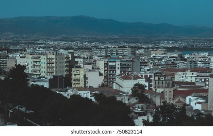 Aerial view of the city of Cagliari, Italy