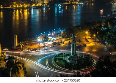 Aerial view of the city of Cairo along the Nile river