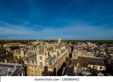 Aerial view of the city of Cambridge, UK