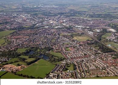 aerial view of the City of Carlisle in Cumbria, UK