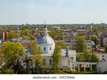 Aerial view of city and cathedral. Daugavpils, Latvia