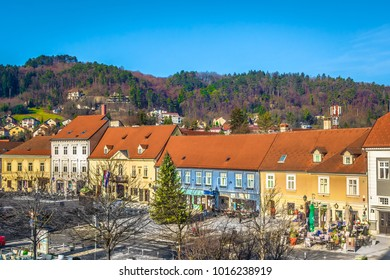 Aerial view at city center in baroque town Samobor, Northern Croatia scenery.