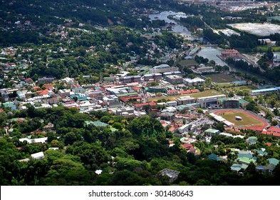 Aerial view of the city center of victoria Mahe capital of the Seychelles
