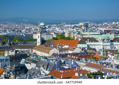 Aerial view of city center of Vienna with St.Augustin church, Hofburg and Museum Quarter seen from St. Stephen's Cathedral in Austria