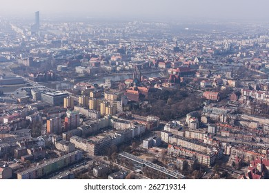 aerial view of city center in Wroclaw in Poland