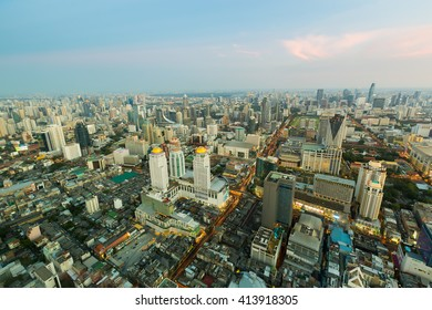 Aerial view city central business downtown in Bangkok Thailand