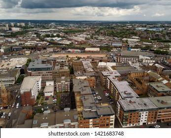 Aerial view of the city centre skyline of Birmingham, UK