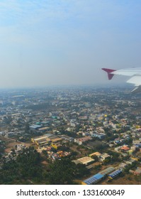 An aerial view of city of Coimbatore when taking off