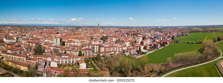Aerial view of the city of Cremona, Lombardy, Italy. Cathedral and Torrazzo of Cremona, the tallest bell tower in Italy 112 meters high