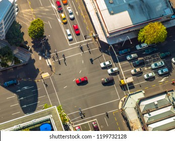 Aerial view of City crossroad scene with traffic lights seen from above