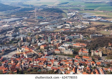 Aerial view of the city of Príbram. Czech republic. Old housing estate with red roofs.