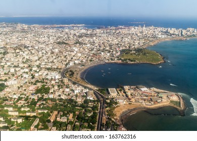 Aerial view of the city of Dakar, Senegal, by the coast of the Atlantic city
