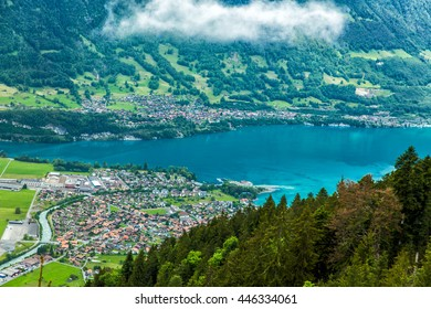 Aerial view of the city district and Interlaken, Switzerland.