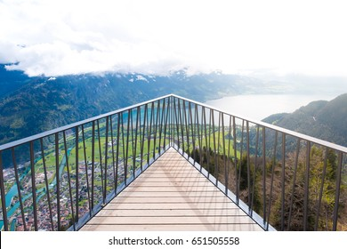 aerial view of the city district and Interlaken from viewpoint at Harder Kulm in Interlaken, Bern, Switzerland.