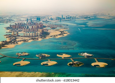Aerial view of city Doha, capital of Qatar