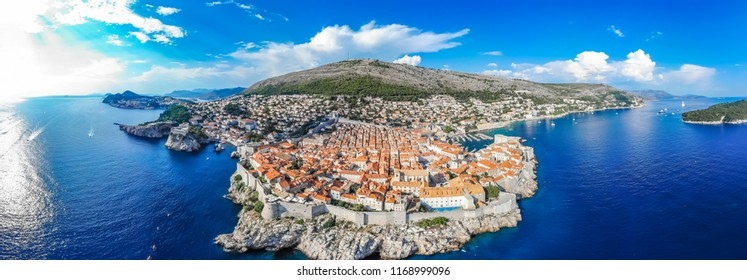 Aerial view of the city of Dubrovnik in the summer, Croatia