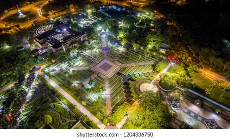 Aerial View of City Fan Park Miri at Night