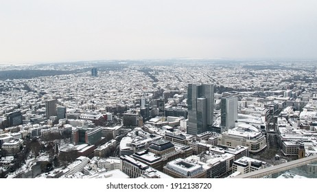 Aerial view of the city of Frankfurt am Main in winter. December 2010