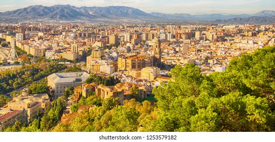 Aerial view of the city from Gibralfaro Castle, Malaga, Spain
