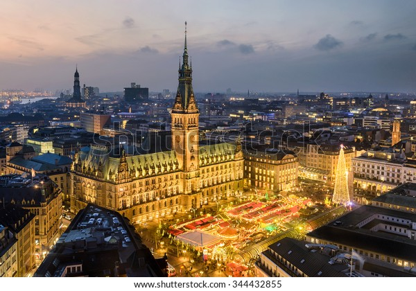 Aerial view of the City Hall with the Christmas market in Hamburg, Germany