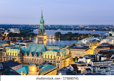 Aerial view of the City Hall of Hamburg, Germany