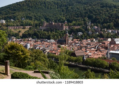 Aerial view of the city of Heidelberg and the neckar river in summer shot from a nearby hill