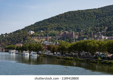 Aerial view of the city of Heidelberg and the river neckar with the old-castle in the background in summer