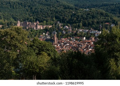Aerial view of the city of Heidelberg in summer shot from a nearby hill, panorama picture