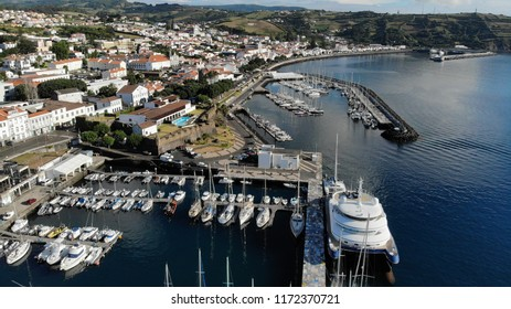Aerial view - City of Horta and Horta Bay of the Archipelago of the Azores - Faial - Portugal