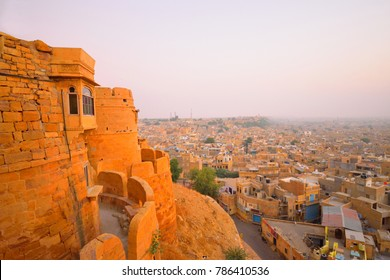 Aerial view of city from jaisalmer fort.