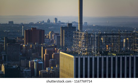 An aerial view of the city of Johannesburg with buildings, South Africa