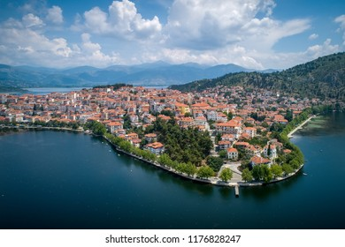 Aerial view the city of Kastoria and Lake Orestiada in northern Greek.