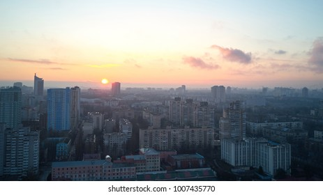 Aerial view of the city of Kiev in the morning,
