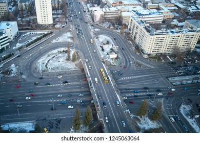 Aerial view of the city of Kiev. Traffic interchange in the city center.