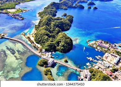Aerial View of the City of Koror (Palau, Micronesia)