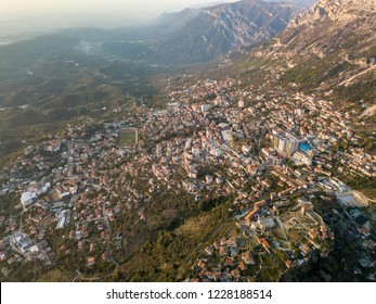 Aerial view of the city of Kruja and the beautiful Albanian Alps
