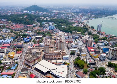 Aerial view of the city of Kuala Terengganu, Malaysia
