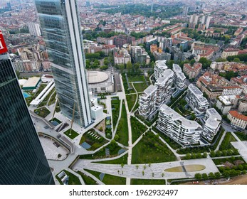 """Aerial view of City Life Milano, Three Towers, bird view of """"Il Dritto"""", """"Lo Storto"""" e """"Il Curvo"""". Drone photography in the beautiful city of Milano, Lombardia, north Italy. Skyscrapers in Europe."""